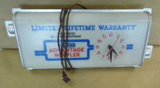 Walker Advantage Muffler light-up shop clock.