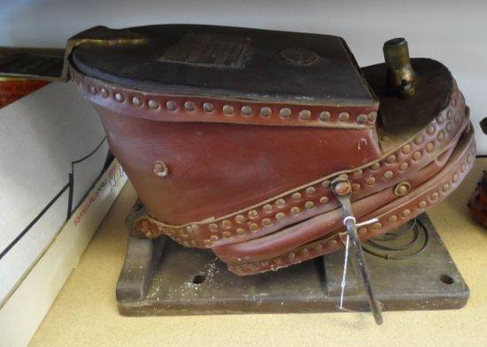 Antique Siebe Gorman & Co. Ltd. Smoke Helmet Bellows Pump - vintage firefighting equipment.