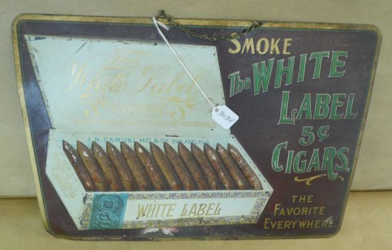 The White Label 5 Cent Cigars Tin Sign.