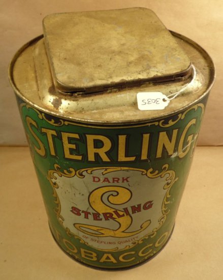 """Vintage Sterling Tobacco Advertising Tin 11.25""""Hx8.25""""D. Counter Display."""
