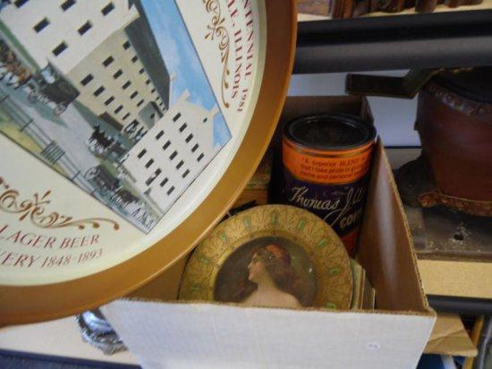 Lot of eight vintage tins.  Includes Thomas Webb Coffee, Swee-Touch-Nee Tea, Mapacuba Cigars, Lipton