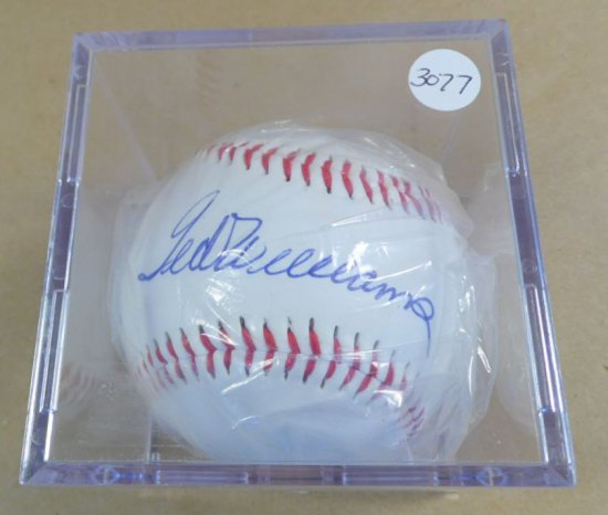 Ted Williams autographed baseball.  Mint condition on autograph model regulation size ball.  With au