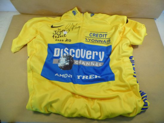Lance Armstrong autographed 'Rare' 2005 Tour De France yellow jersey, full size 'authentic'.  With a