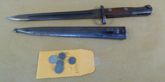 Nazi German WWII Mauser Bayonet with scabbard.  Razor sharp original steel blade.  Matching serial n