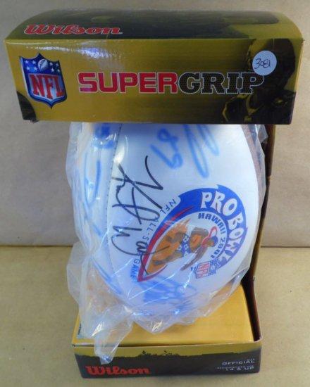 2001 NFL Pro-Bowl football signed by 16 stars.  Including: Kurt Warner, Mo Lewis, Eddie George, Larr