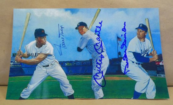 """Mickey Mantle, Willie Mays and Duke Snider!  """"New Yorks Outfield Legends""""  Triple autographed 6X10 c"""