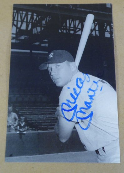 Mickey Mantle autographed vintage 4X6 B&W Yankees Photo.  With authenticity.