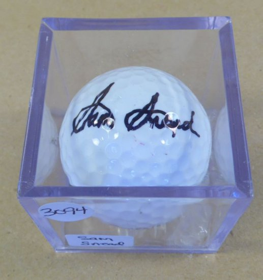 Sam Snead signed mint Titleist golf ball.  'Rare' from deceased legend.  With authenticity.