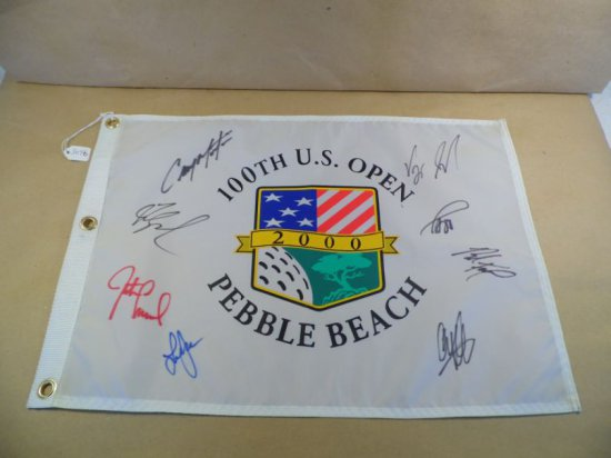 2000 U.S. Open at Pebble Beach Pin Flag signed by eight including top finishers Fred Couples, Vijay
