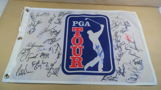 PGA Tour Pin Flag signed by 30 players!  Stars include Tiger Woods, Phil Mickelson, Greg Norman, Jos