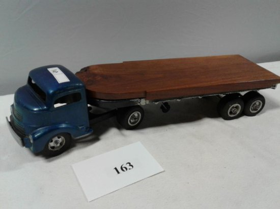 TOY TRUCK SMITTY TOYS SINGLE AXEL SEMI TRACTOR WITH CUSTOM WOOD TRAILER