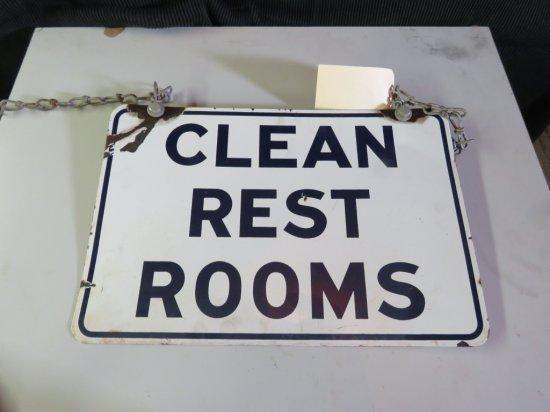 Clean Restrooms Porcelain Sign