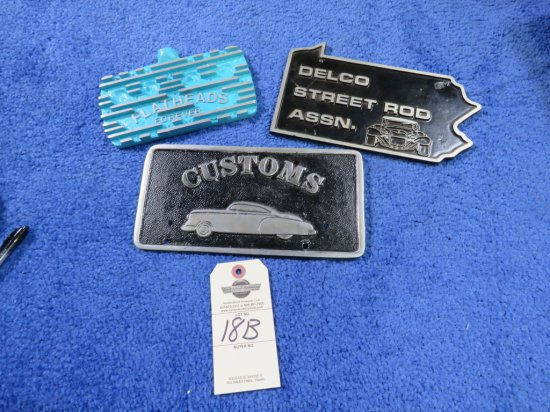 Grouping of Vintage Potmetal Vehicle Club Plates