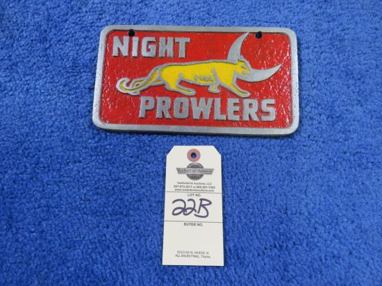 Vintage Pot Metal Night Prowlers Vehicle Club Plate