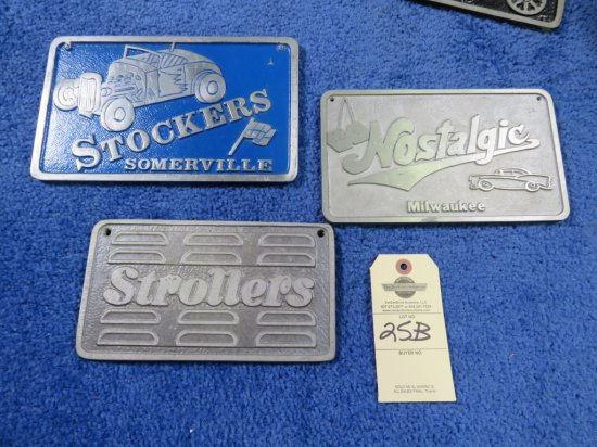 Vintage Pot Metal Vehicle Club Plates Strollers, Stockers, Nostalgics