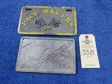 Pace Makers 500 and Hi Winders KCTA Vintage Vehicle Club Plates- Pot Metal