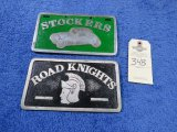 Stockers and Road Knights Vintage Vehicle Club Plates- Pot Metal