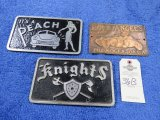 Vintage Vehicle Club Plates- Knights and Road Angels- Pot Metal
