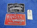 Vintage Vehicle Club Plates of Mystics and Challengers- Pot Metal