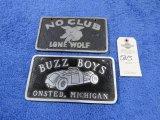 Lone Wolf-No Club -Buzz Boys Vintage Vehicle Club Plate- Pot Metal