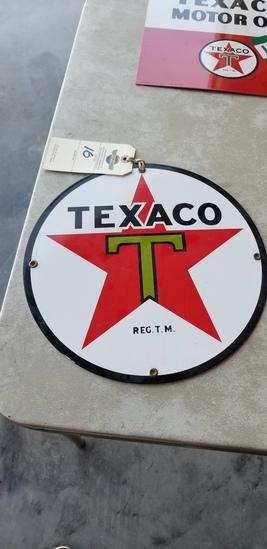 Texaco porcelain pump sign