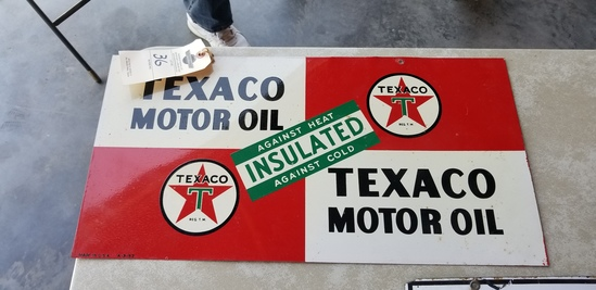 Double sided painted tin Texaco Sign