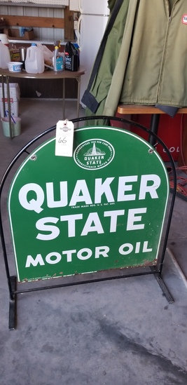 Quaker State Double sided painted tin display