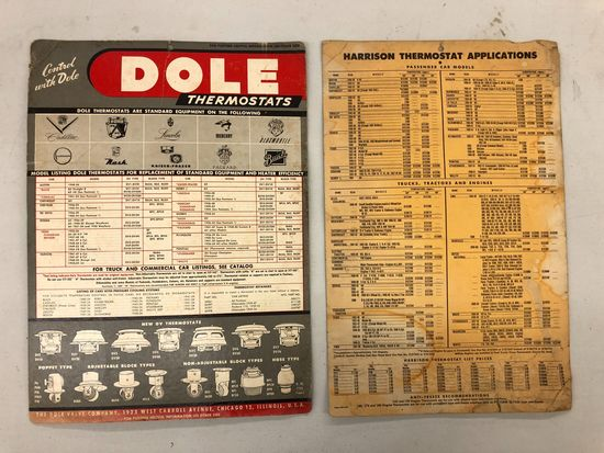 Dole Thermostat & Harrison Thermostat Applications Chart