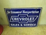 Chevrolet Sales & Service  Porcelain Sign