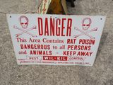 Danger Rat Poison Single Sided Porcelain Sign