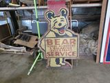 Bear Wheel Alignment Service Single Sided Painted Tin Sign 35x53 inches