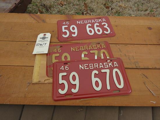 1946 Nebraska License Plates Group