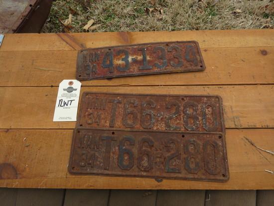 1934 Kansas License Plates