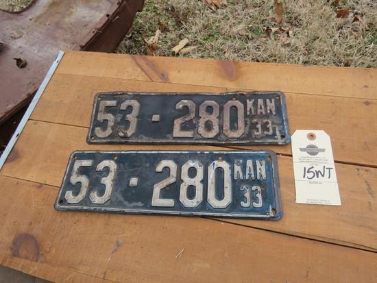 1933 Kansas License Plates