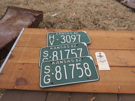 1962 Kansas License Plates