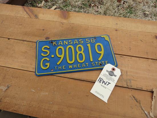 1958 Kansas License Plate