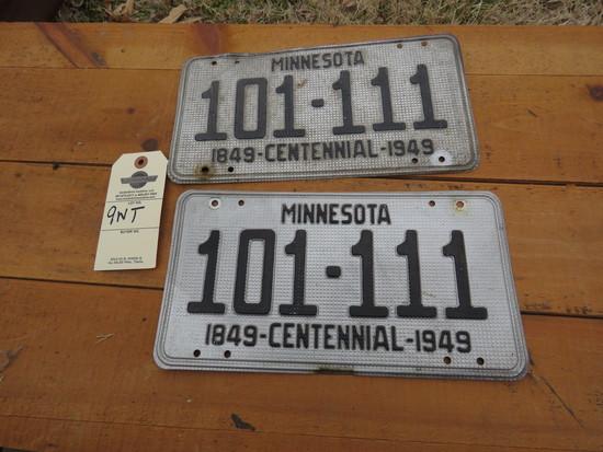 Pair of 1949 Minnesota License Plates