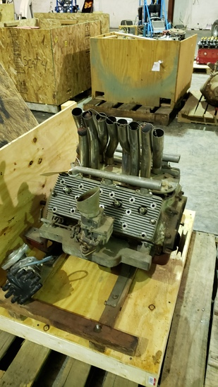Reverse Flathead V8  60hp Motor with Offenhauser Heads for Midget Race Car Exhaust AND Intakes switc