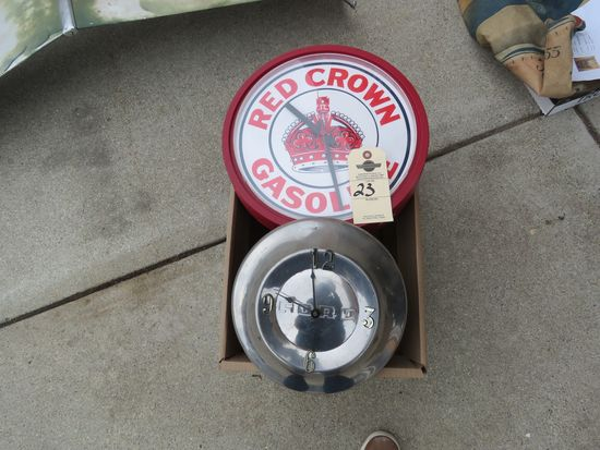 Ford hubcap Clock and Aftermarket Red Crown Clock