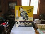 Champion Spark Plugs 28x34 Single Sided Painted Tin Sign