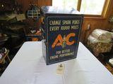 Vintage Metal Ac Spark Plugs Advertising Display Case with Spark Plugs
