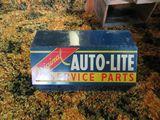 Vintage Autolite Metal Display Case with Spark Plug Tools
