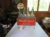 Rare Glass Mobil Oil Bottles in Rack with MobilOil Advertising