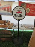 MobilOil DS Porcelain Lollipop Sign Topper 23.5 inches