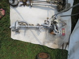 Vintage Johnson Boat Motor and Johnson Stand