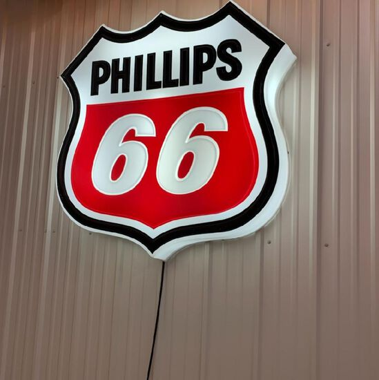 WHITE PHILLIPS 66 LIGHTED SIGN
