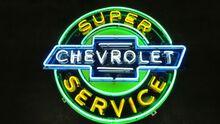 Super Chevrolet Service Porcelain Neon Sign