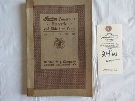 1916-1920 Indian Power plus Motorcycle and Side Car Parts Catalog