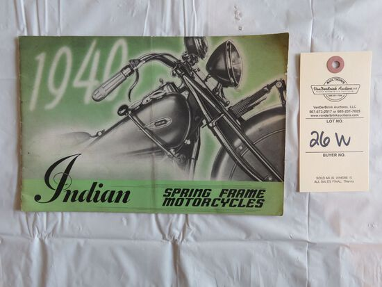 1940 Indian Motorcycles- Spring Frame Motorcycles Brochure