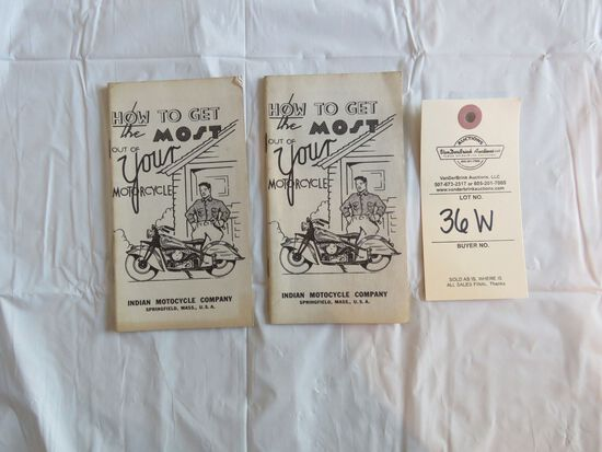 """Lot of 2- """"How to Get The Most Out of Your Motorcycle"""" Indian Motorcycle Pamphlets"""